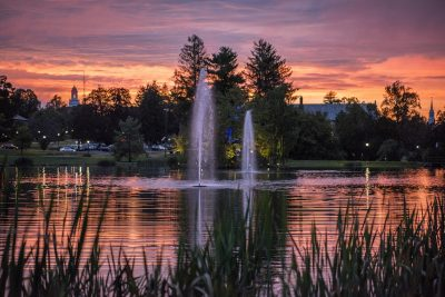 Sunset over Mirror Lake on Sept. 19, 2016. (Ryan Glista/UConn Photo)